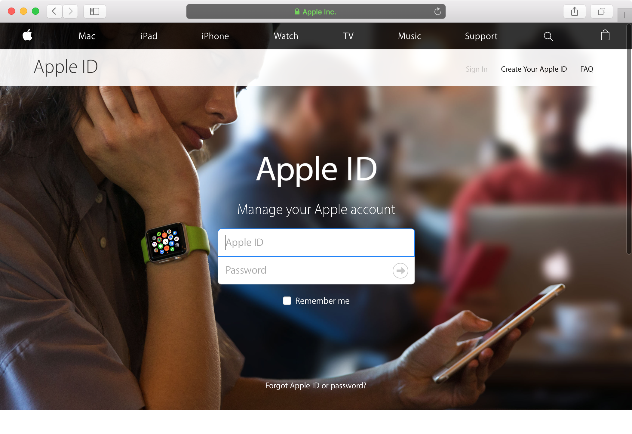 Apple ID sign in web browser