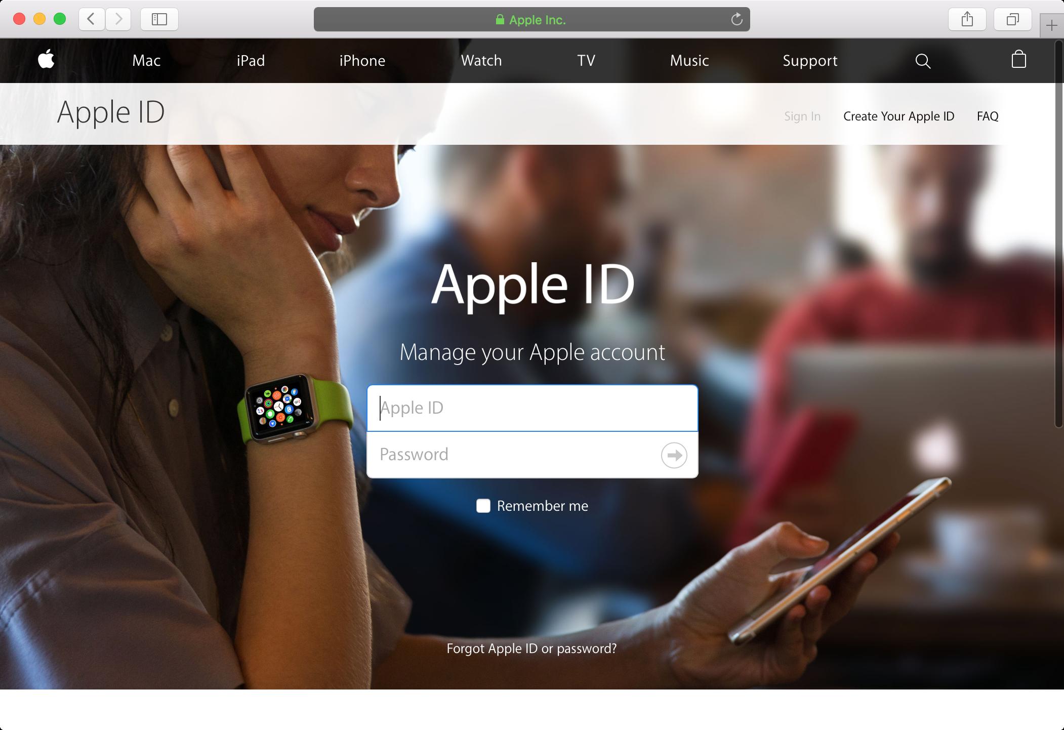 ID de Apple iniciar sesión en el navegador web