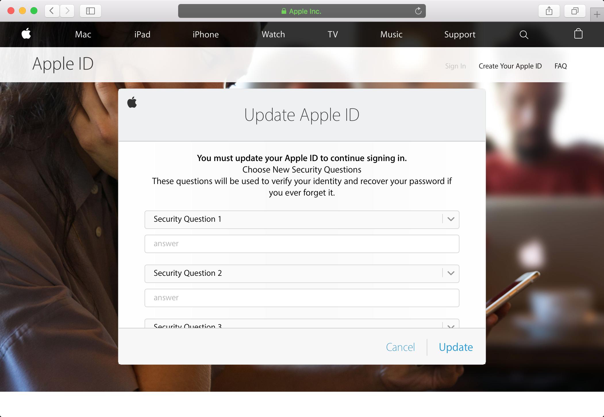 Restablecer preguntas de seguridad de ID de Apple