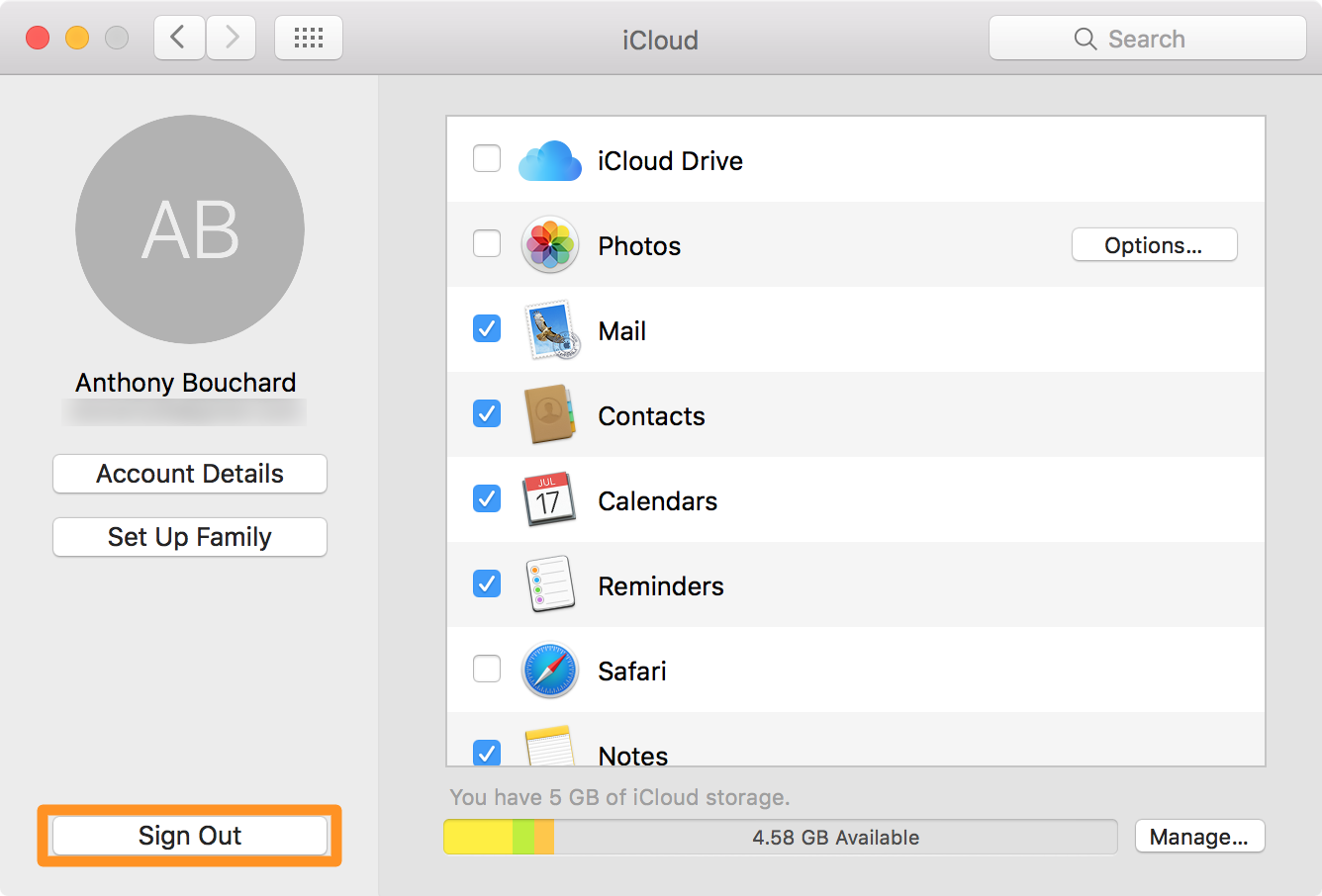 Sign out of iCloud on your Mac