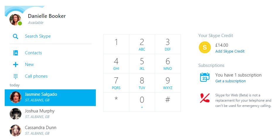 Skype Web phone calling