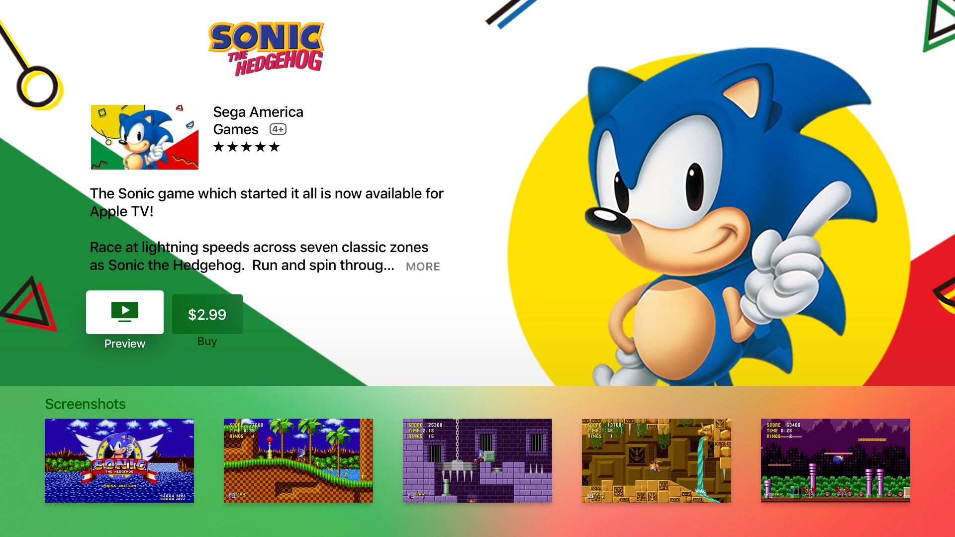 Sonic the Hedgehog for Apple TV screenshot 001