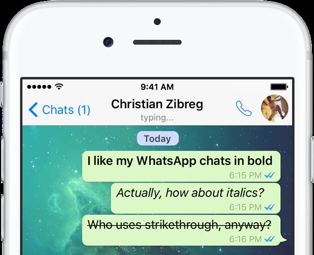 WhatsApp para iOS negrita y cursiva tachado 001