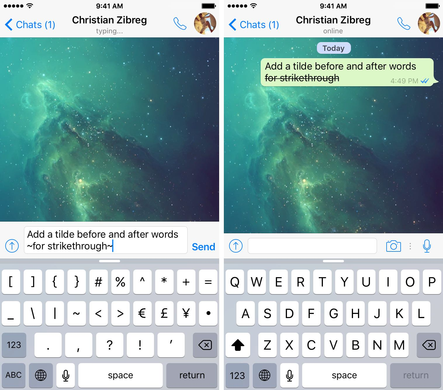WhatsApp for iOS how to strikethrough iPhone screenshot 001
