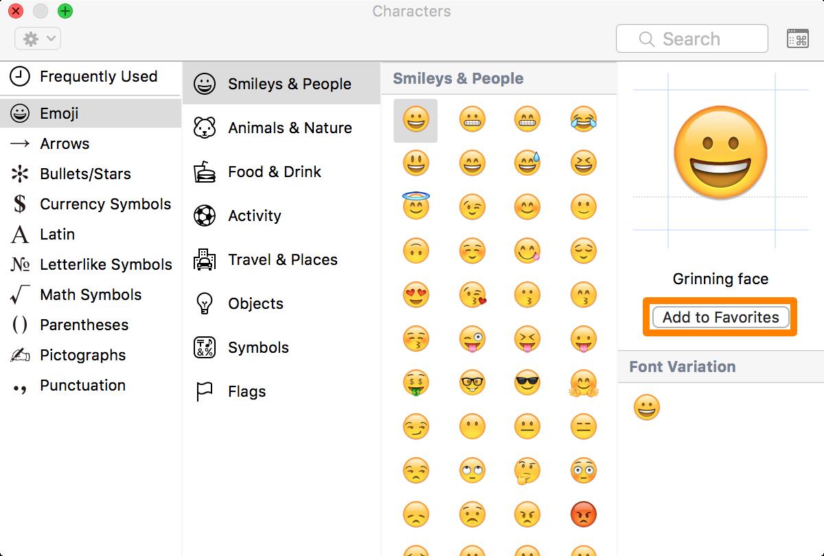 add Emoji to favorites list on mac
