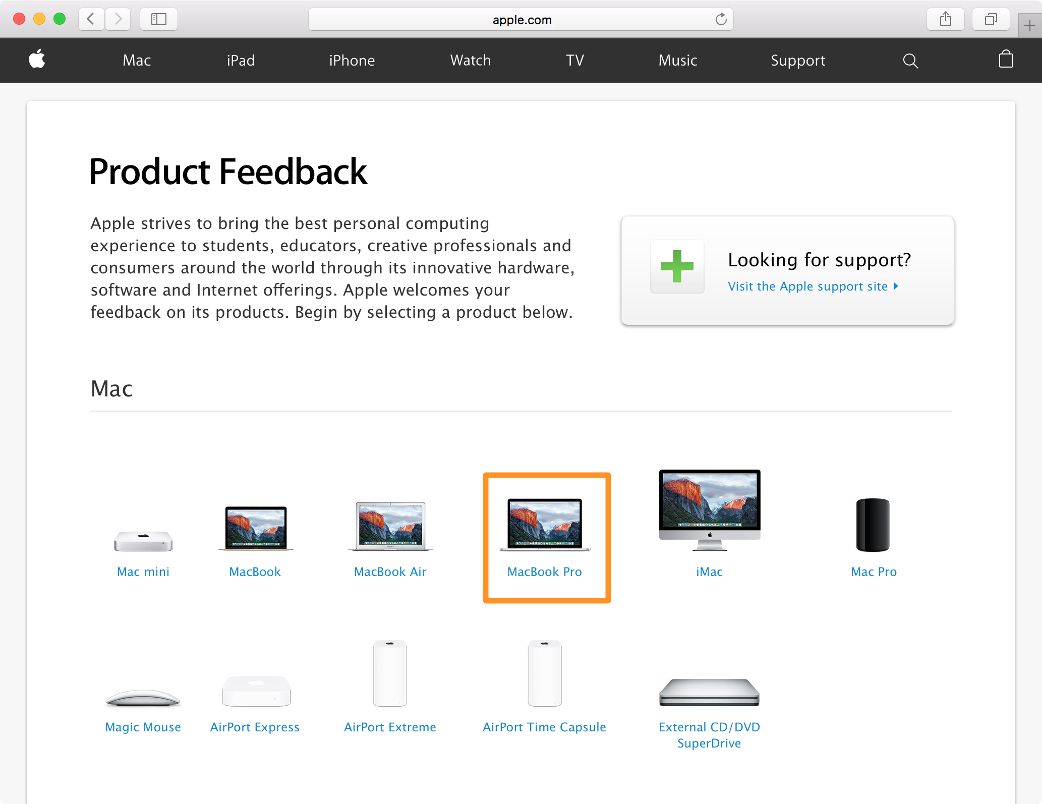 apple product feedback guide select a product