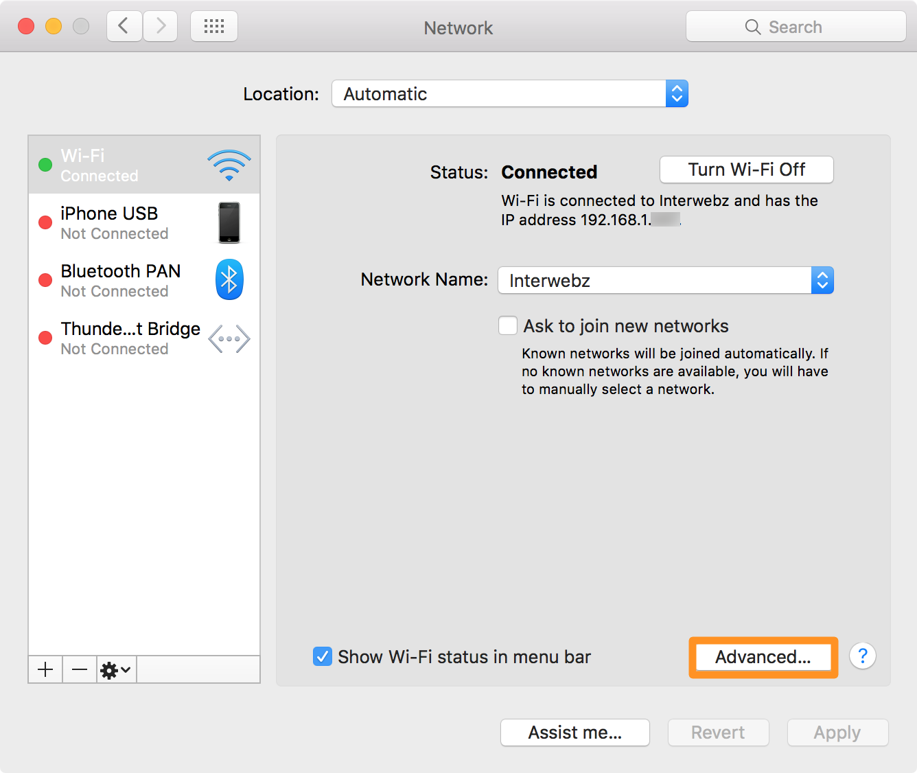 change dns on mac advanced button