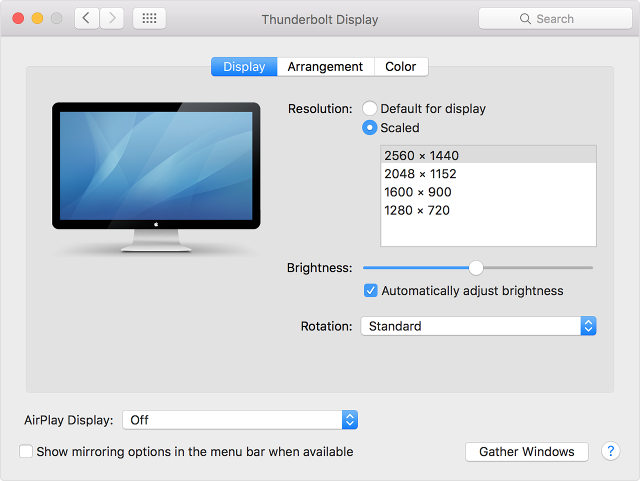 changing external display resolution on Mac