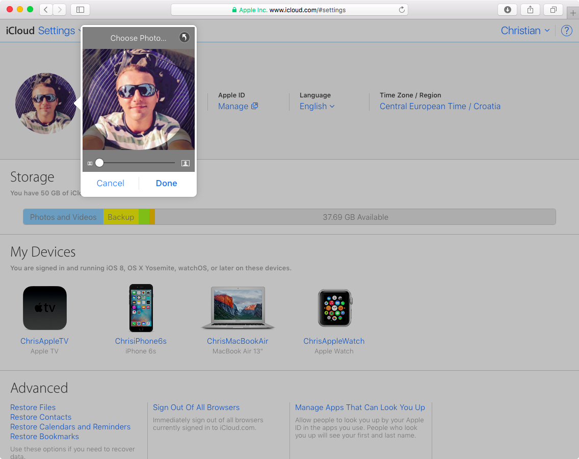 Update profile pic on iCloud website
