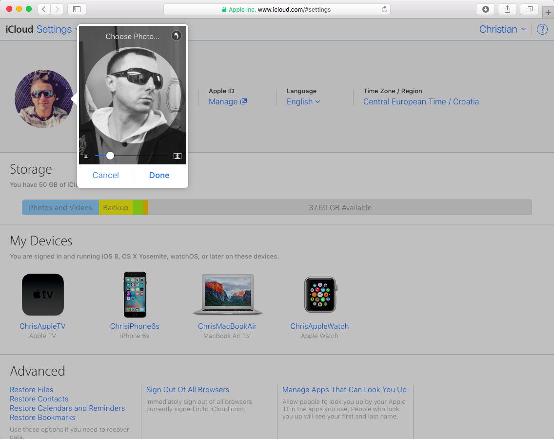 Actualizar foto de perfil de iCloud