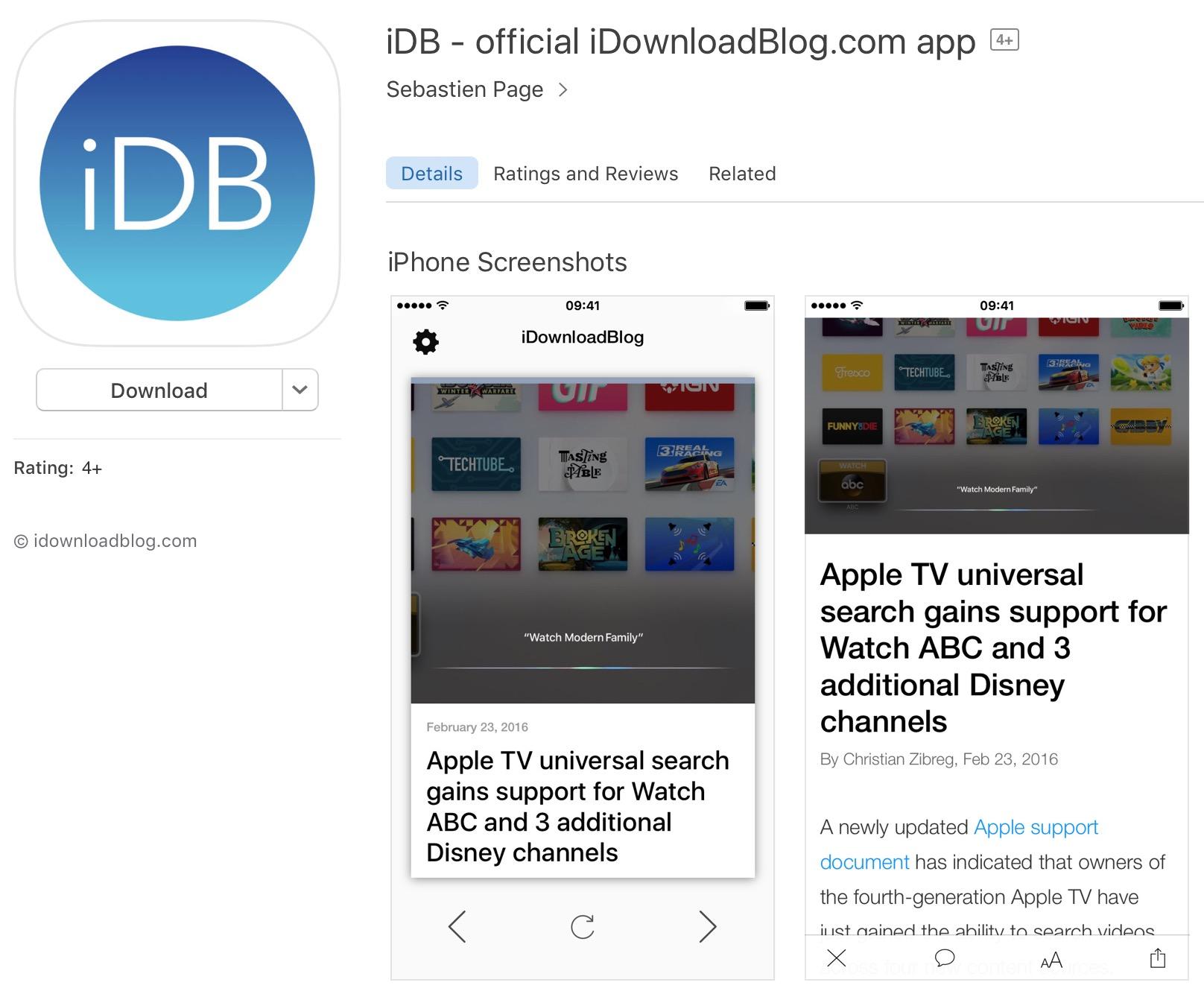 iDB app in App Store