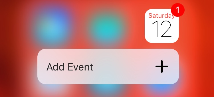 iOS 9 Calendar 3D Touch Home screen shortcuts iPhone 6s screenshot 001