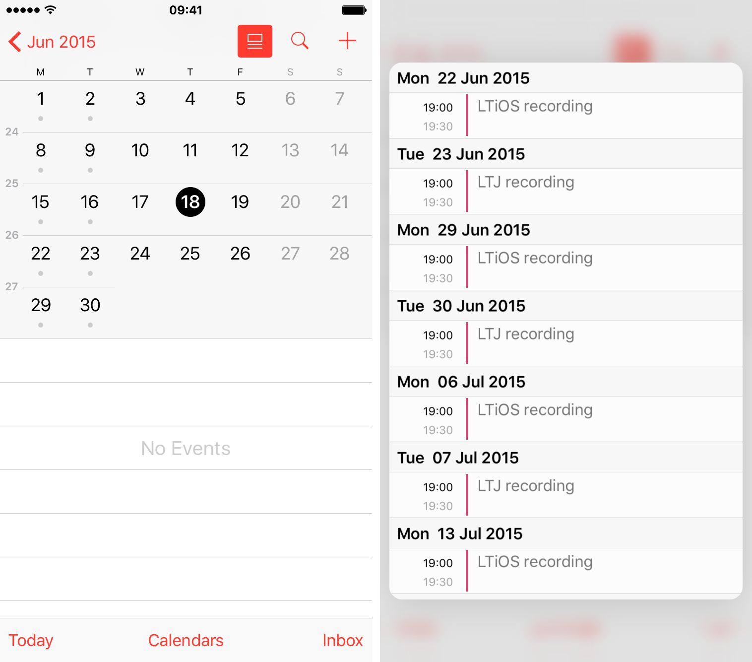 iOS 9 Calendar 3D Touch preview events iPhone 6s screenshot 003