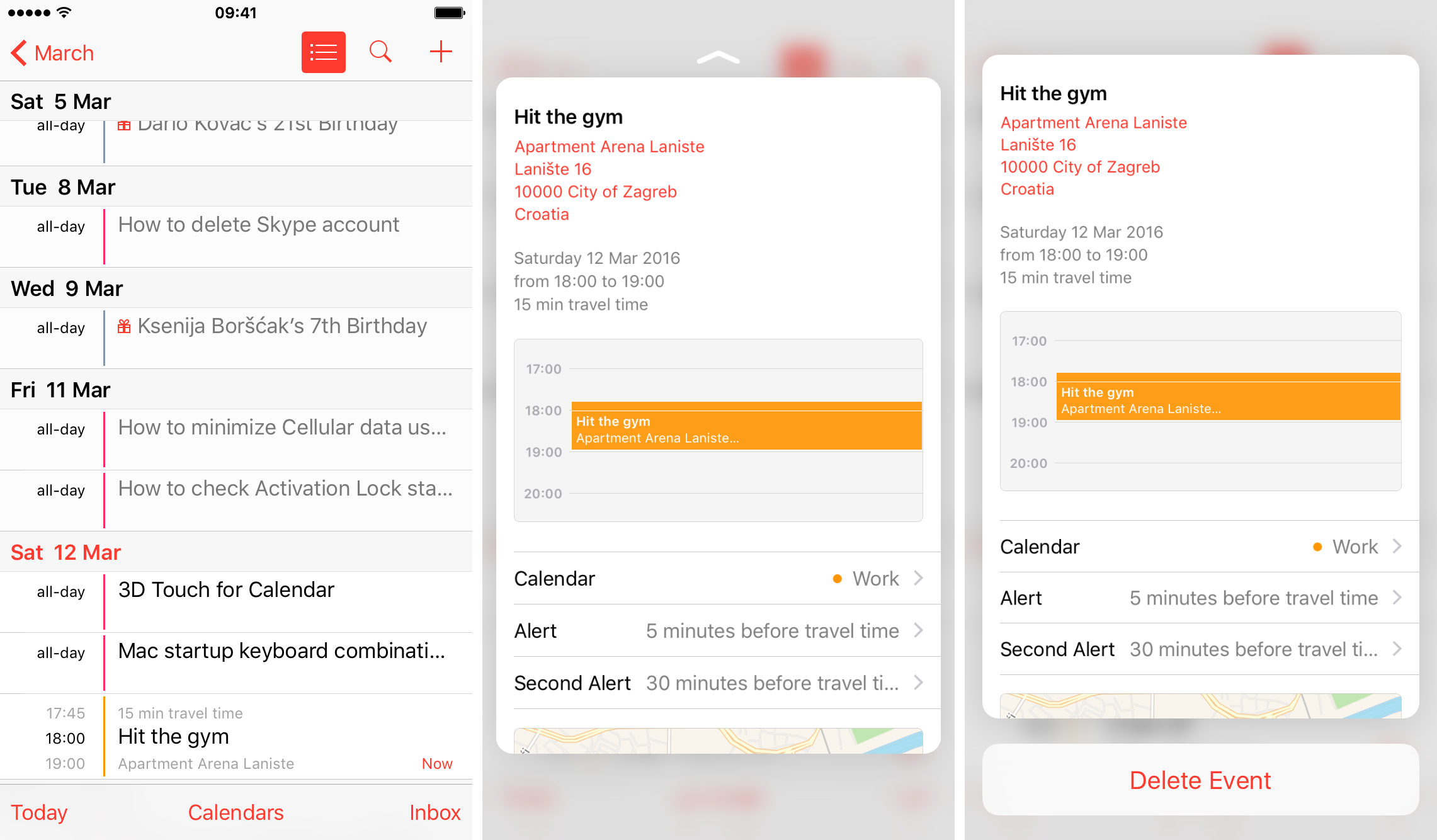 iOS 9 Calendar 3D Touch preview events iPhone 6s screenshot 005