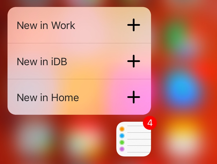 iOS 9 Reminders 3D Touch Home screen shortcuts iPhone 6s screenshot 001