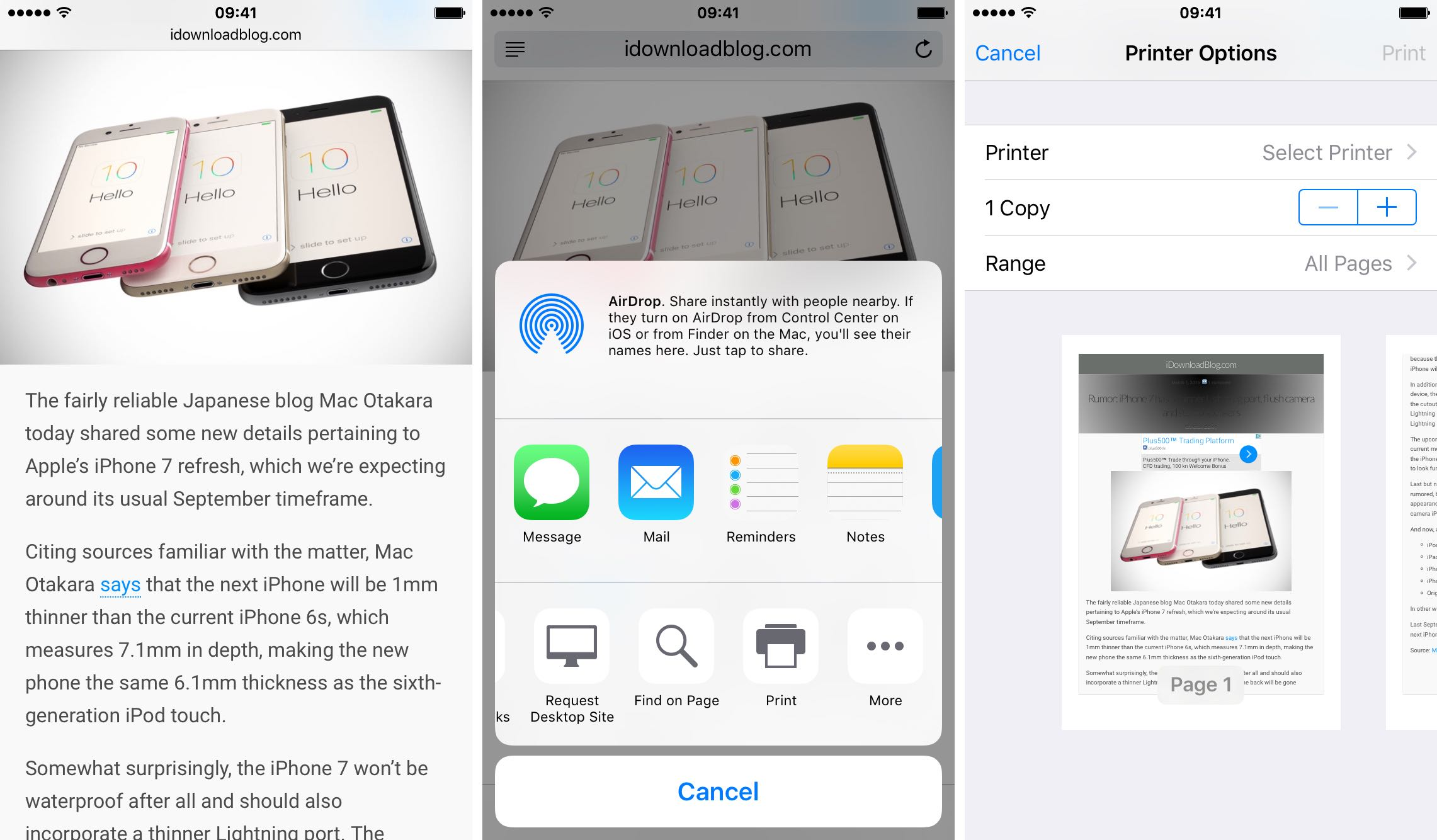 iOS 9 Enviar PDF con 3D Touch iPhone 6s captura de pantalla 001