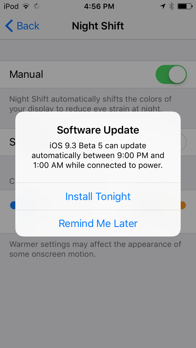 iOS 9.3 Auto Install firmware updates iPod touch screenshot 001