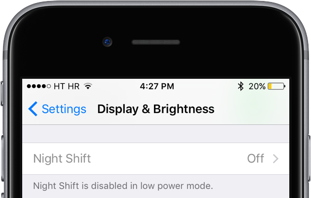 iOS 9.3 Night Shift deshabilitado en modo de bajo consumo iPhone captura de pantalla 005