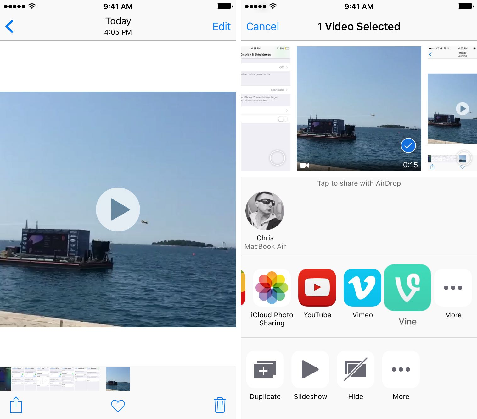 iOS 9.3 Photos Share video to Vine iPhone screenshot 001