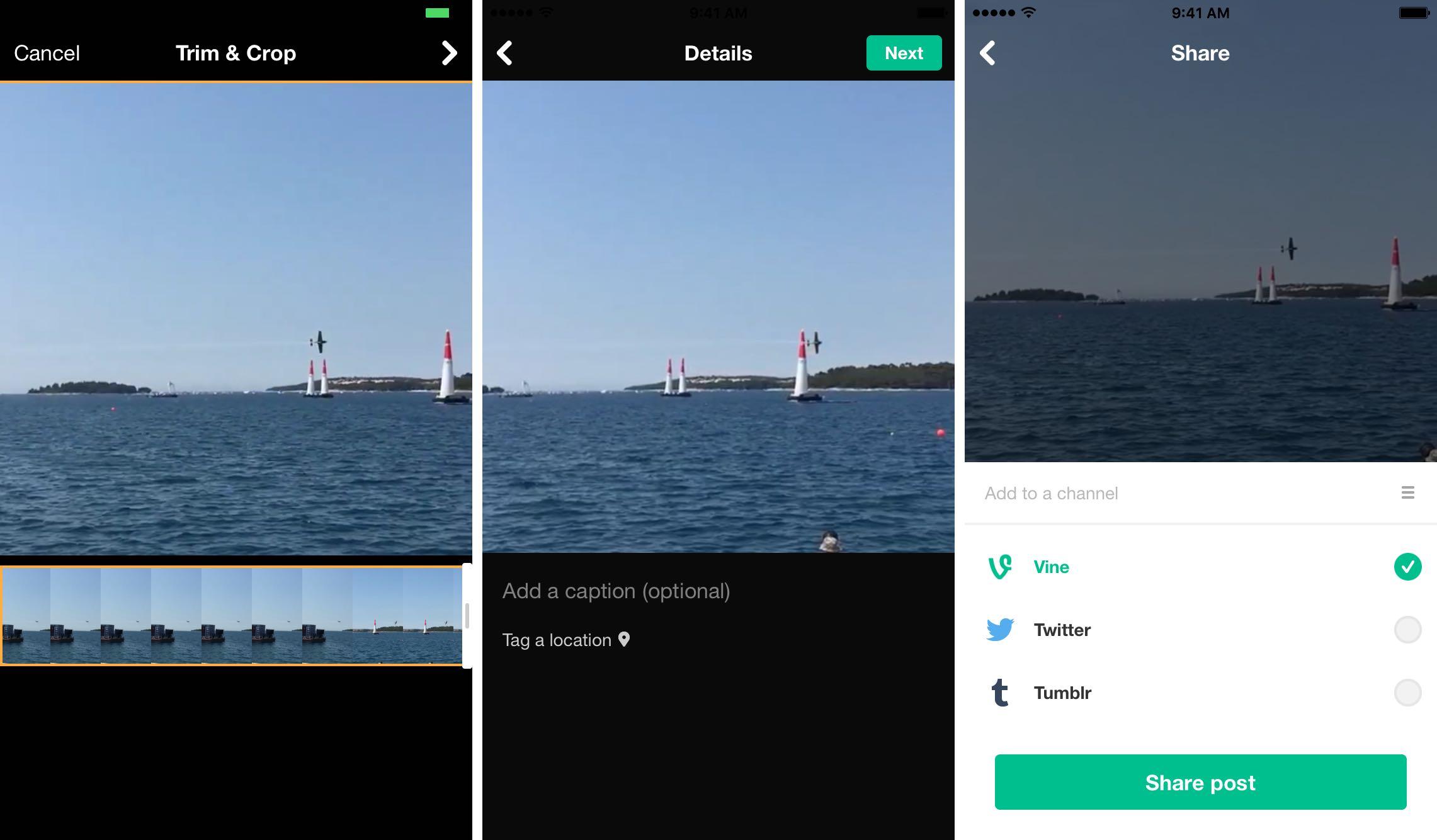 iOS 9.3 Photos Share video to Vine iPhone screenshot 002