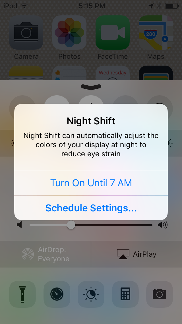 iOS 9.3 beta 5 Night Shift mode enable until tomorrow iPod touch screenshot 001