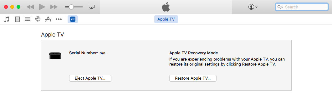 iTunes for Mac Apple TV in Recovery Mode screenshot 001