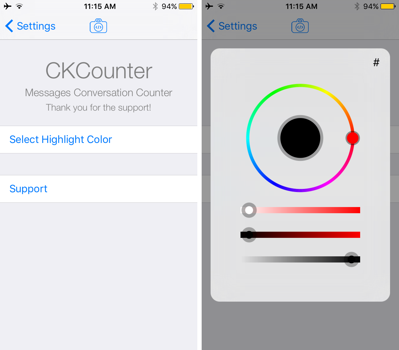 CKCounter change color of counter preferences pane options to configure