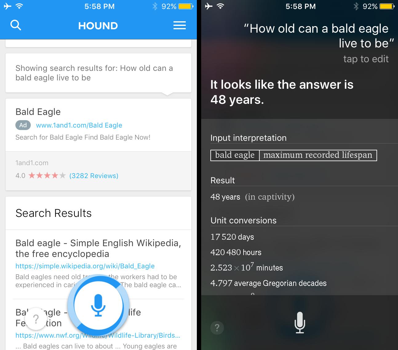 Siri Wolfram Alpha Hound