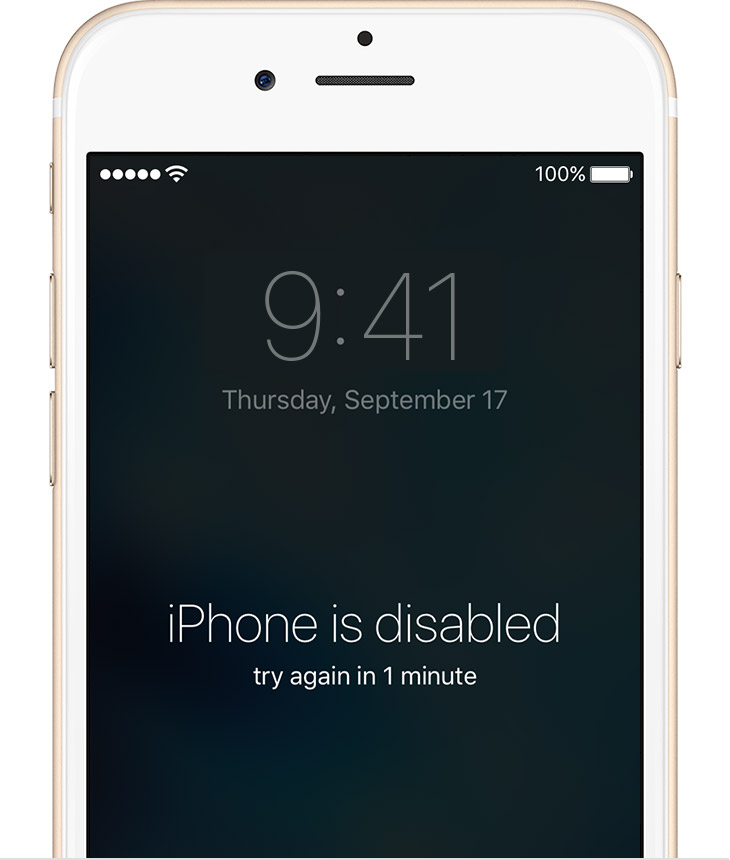 forgot iphone passcode - error disabled