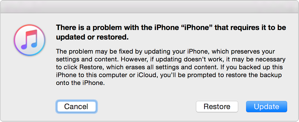 iTunes message - restore iphone in Recovery Mode