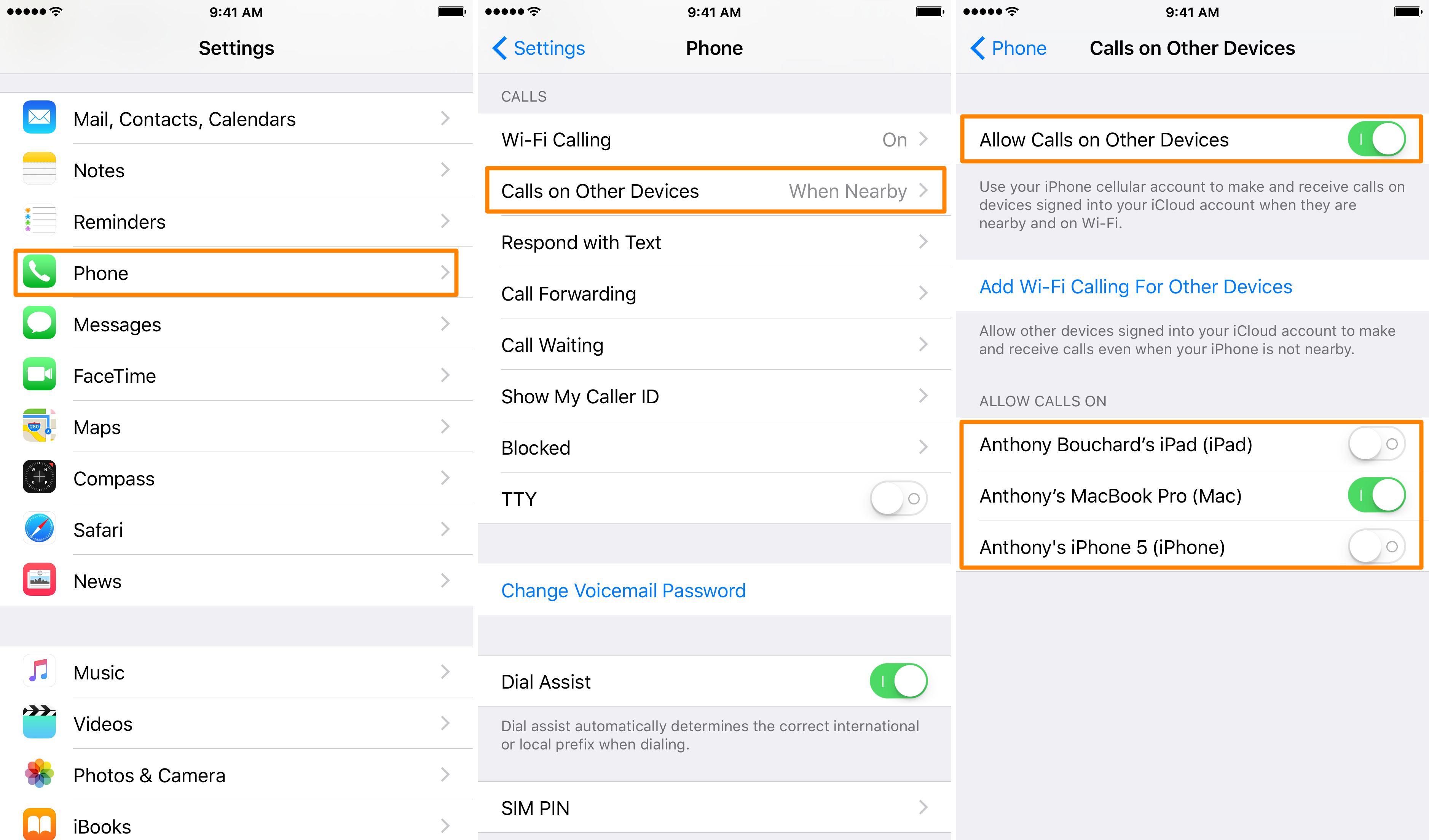 limit phone call continuity on iPhone iPad and Mac