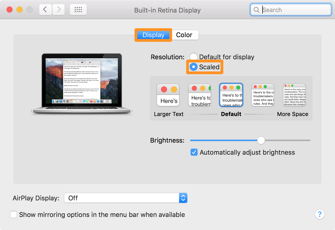 Scaled display on Mac