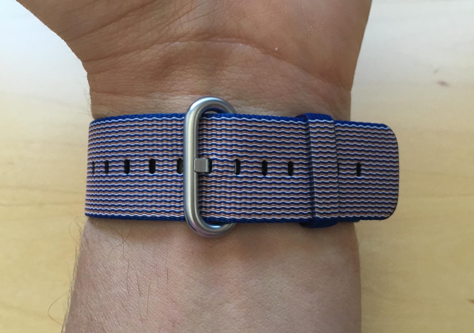 royal blue woven nylon band buckle