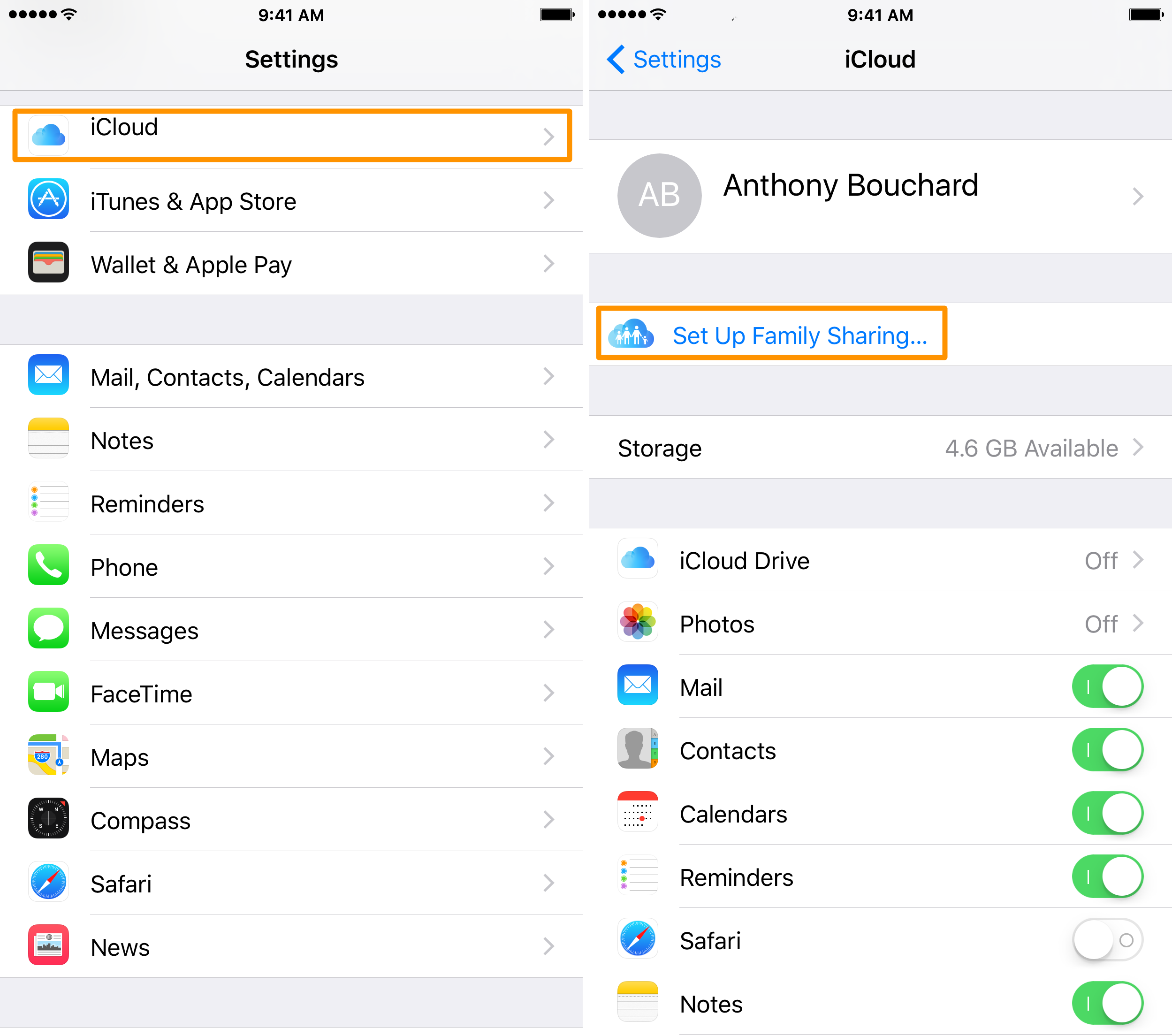 set up family sharing in iOS 1