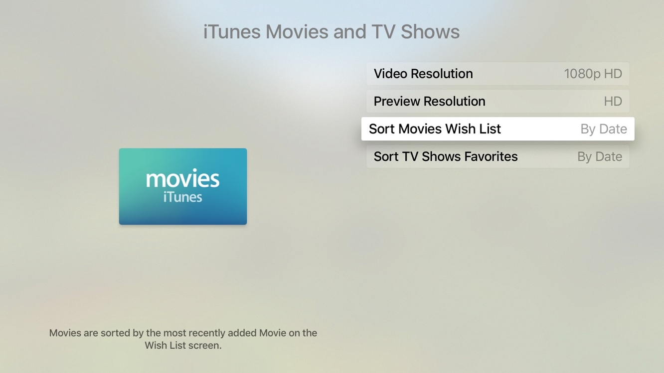 tvOS 9.2 Settings Movies and TV Shows Apple TV screenshot 001