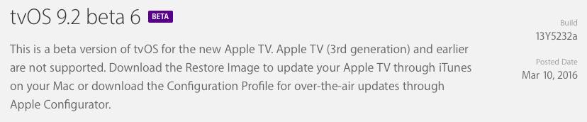 tvOS 9.2 beta 6 release prompt