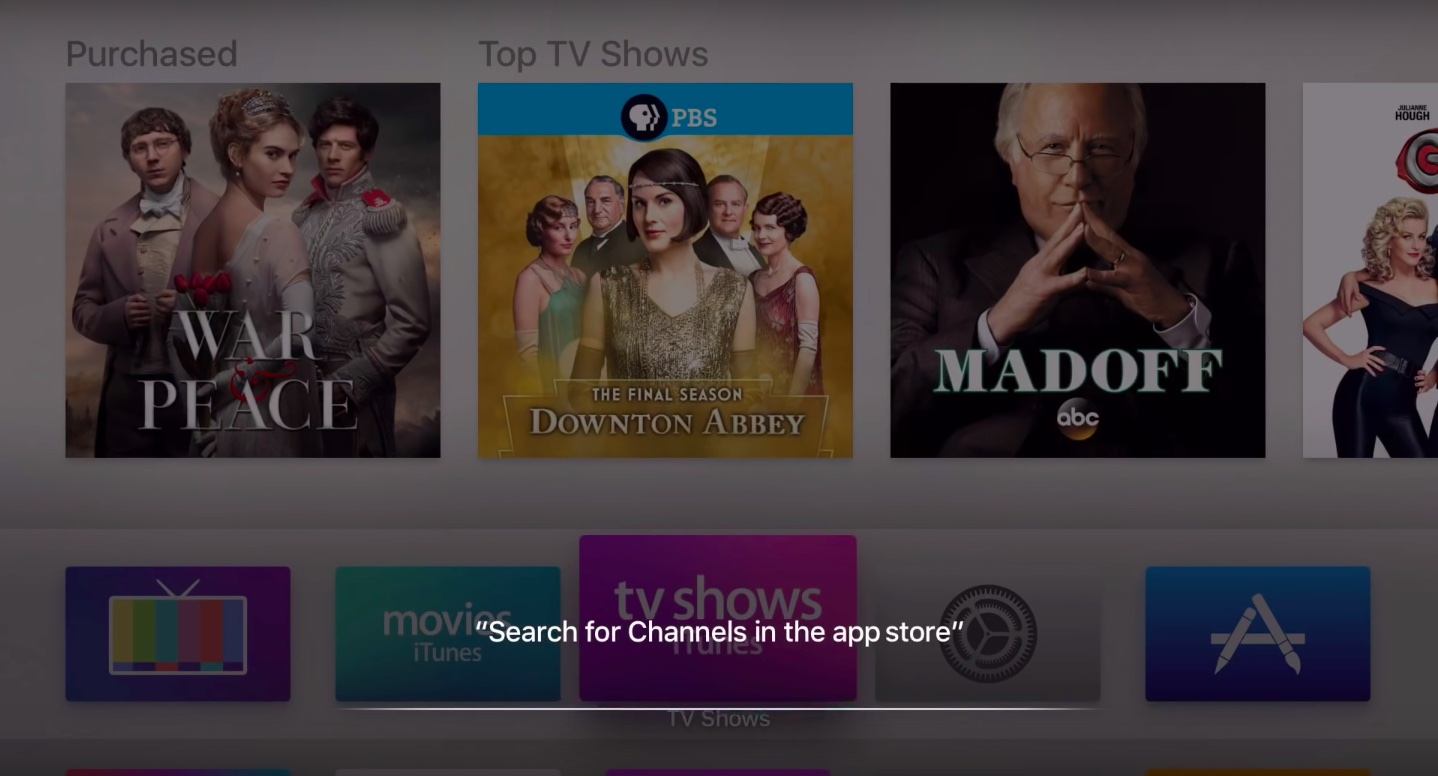 tvOS 9.2 search app store Apple TV screenshot 001