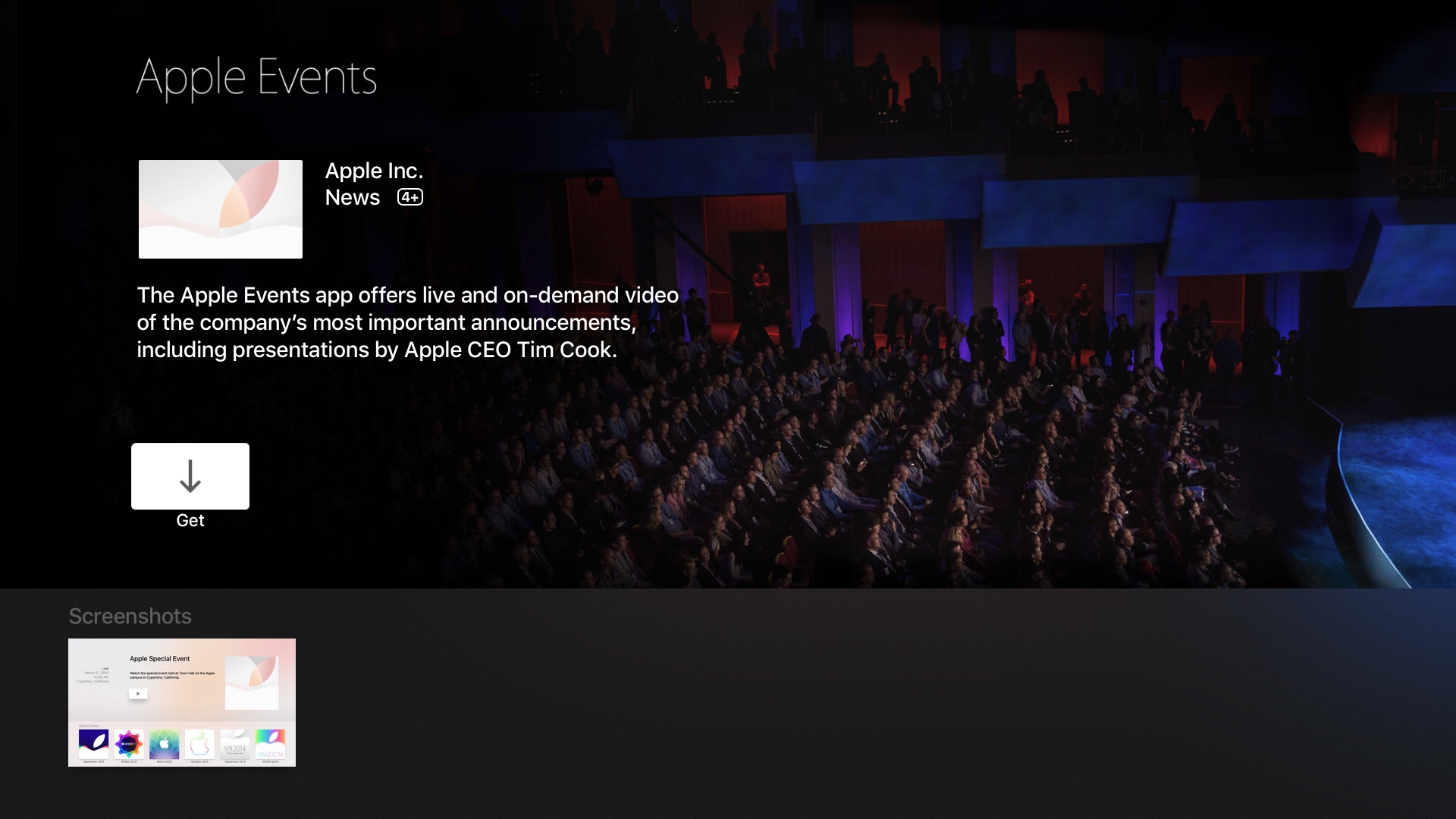 tvOS App Store Events app Apple TV screenshot 001