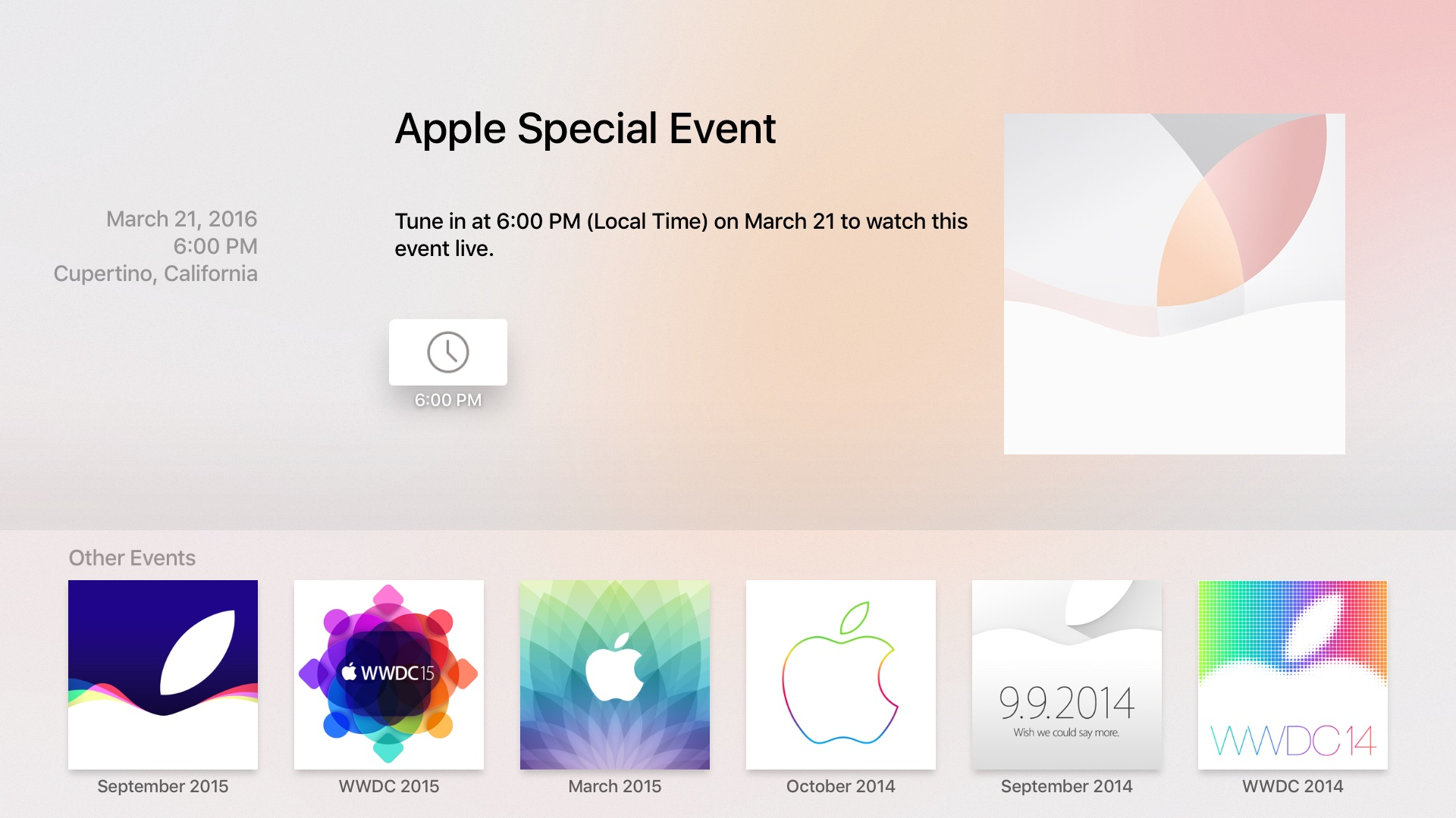 Aplicación TVOS App Store Eventos Captura de pantalla de Apple TV 003