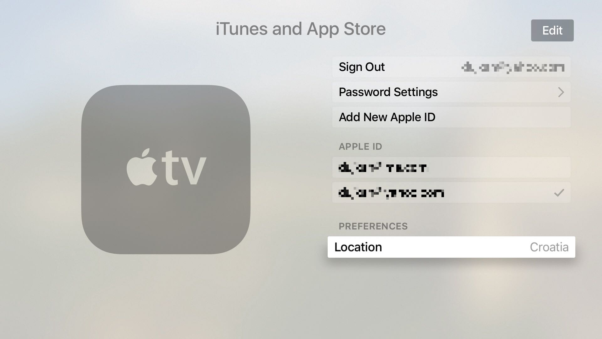 tvOS Settings iTunes and App Stores Location Apple TV screenshot 0001