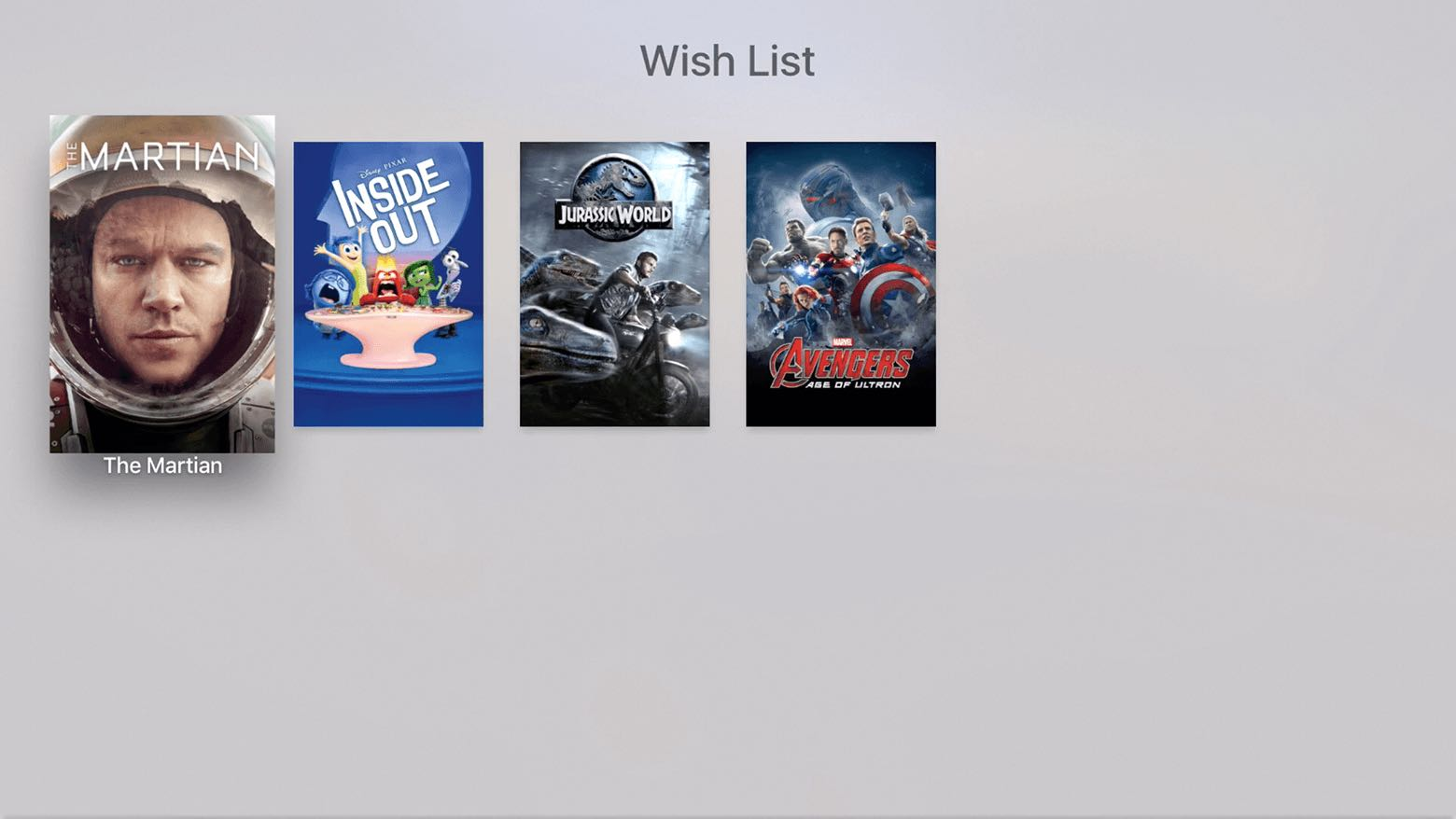 tvOS iTunes Movies view Wish List Apple TV screenshot 002