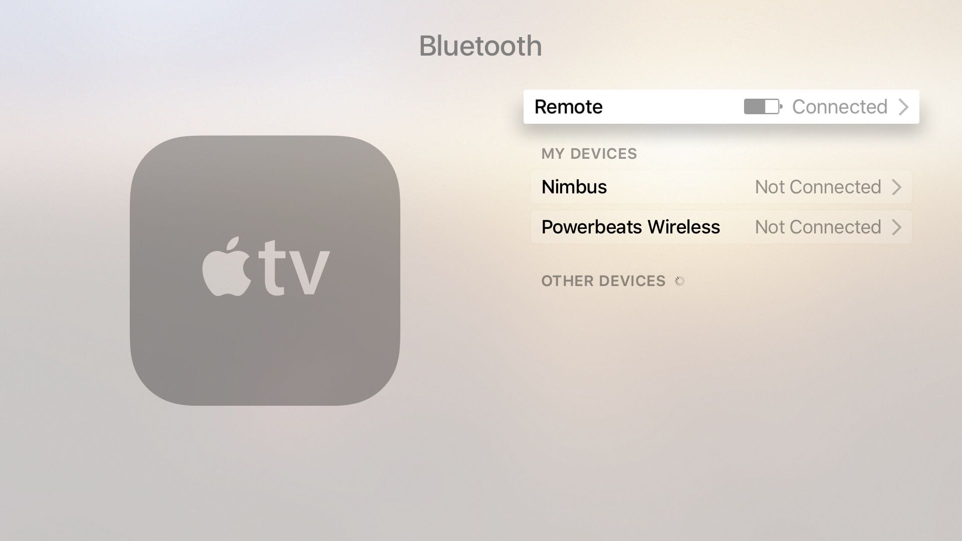 Configuración remota de Apple TV