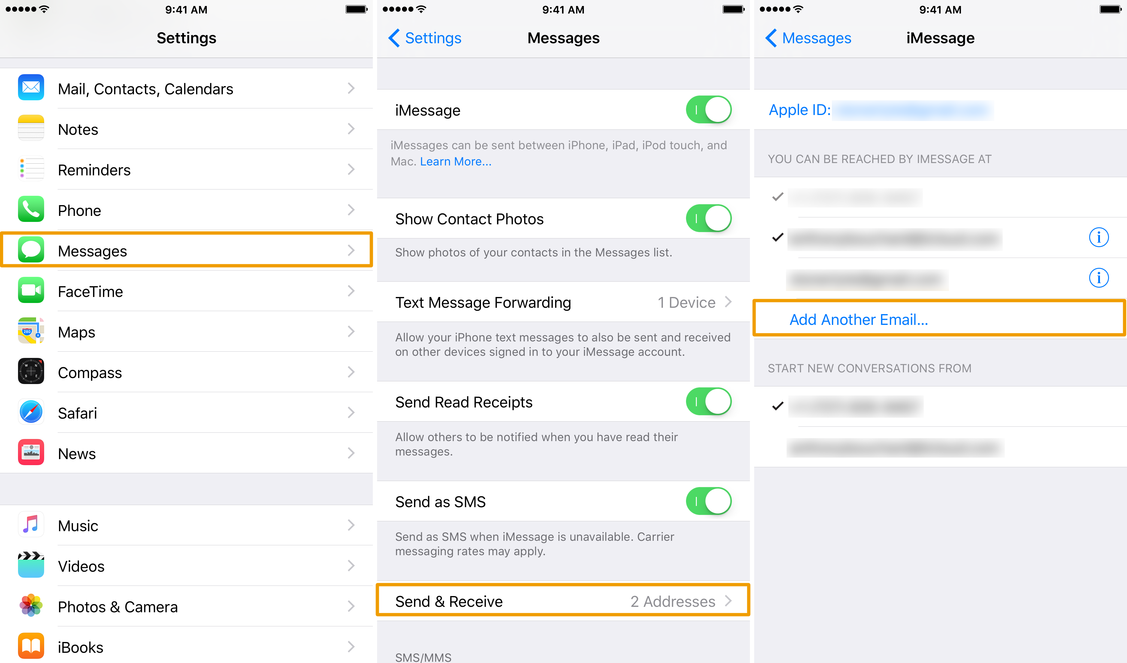 Adding a new email address to iMessage in iOS