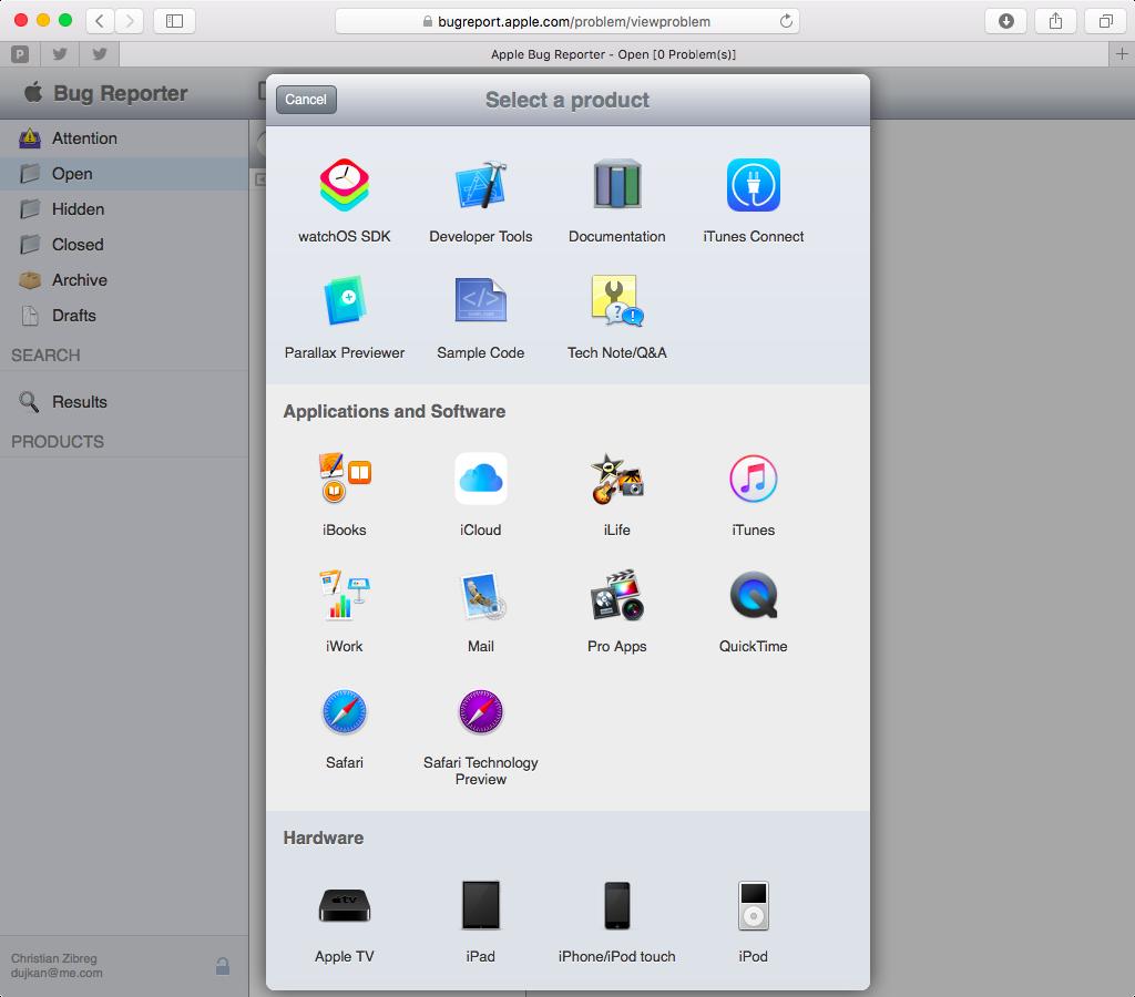 Apple Bug Reporter web screenshot 002
