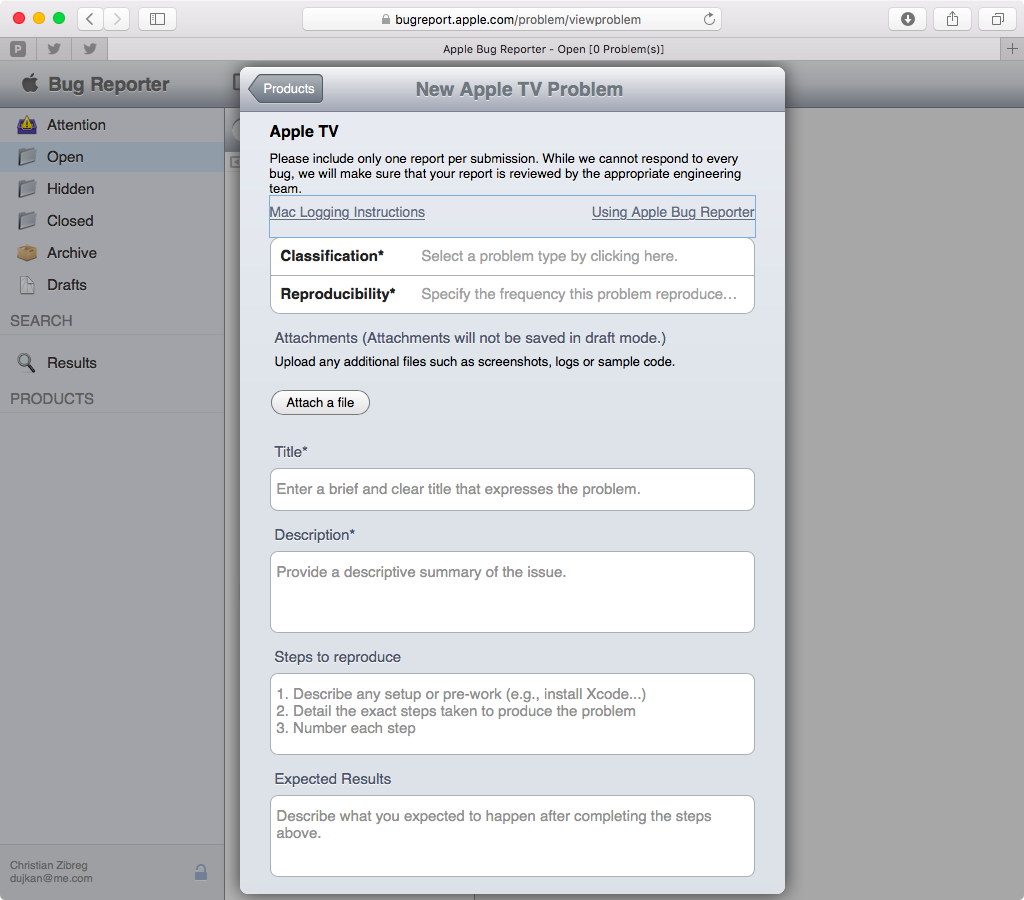 Apple Bug Reporter web screenshot 003