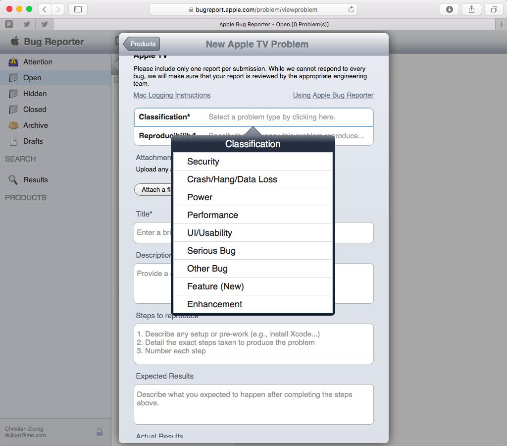 Apple Bug Reporter web screenshot 004