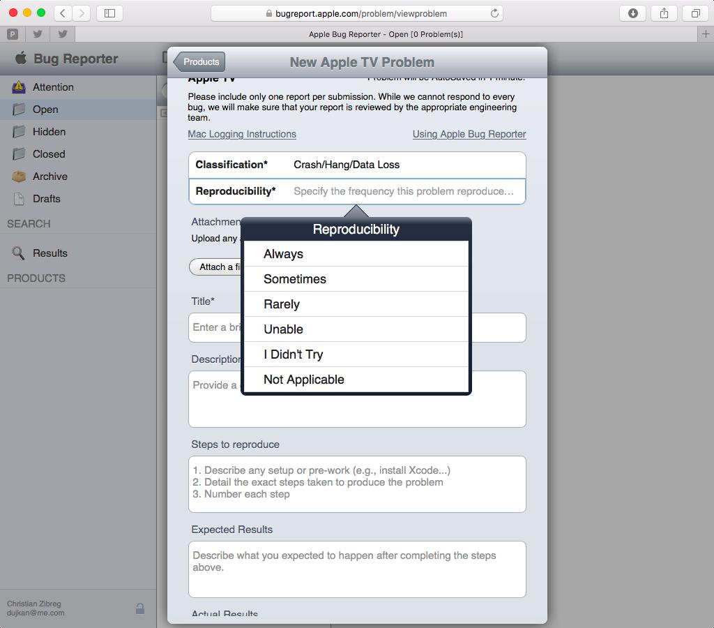 Apple Bug Reporter web screenshot 005