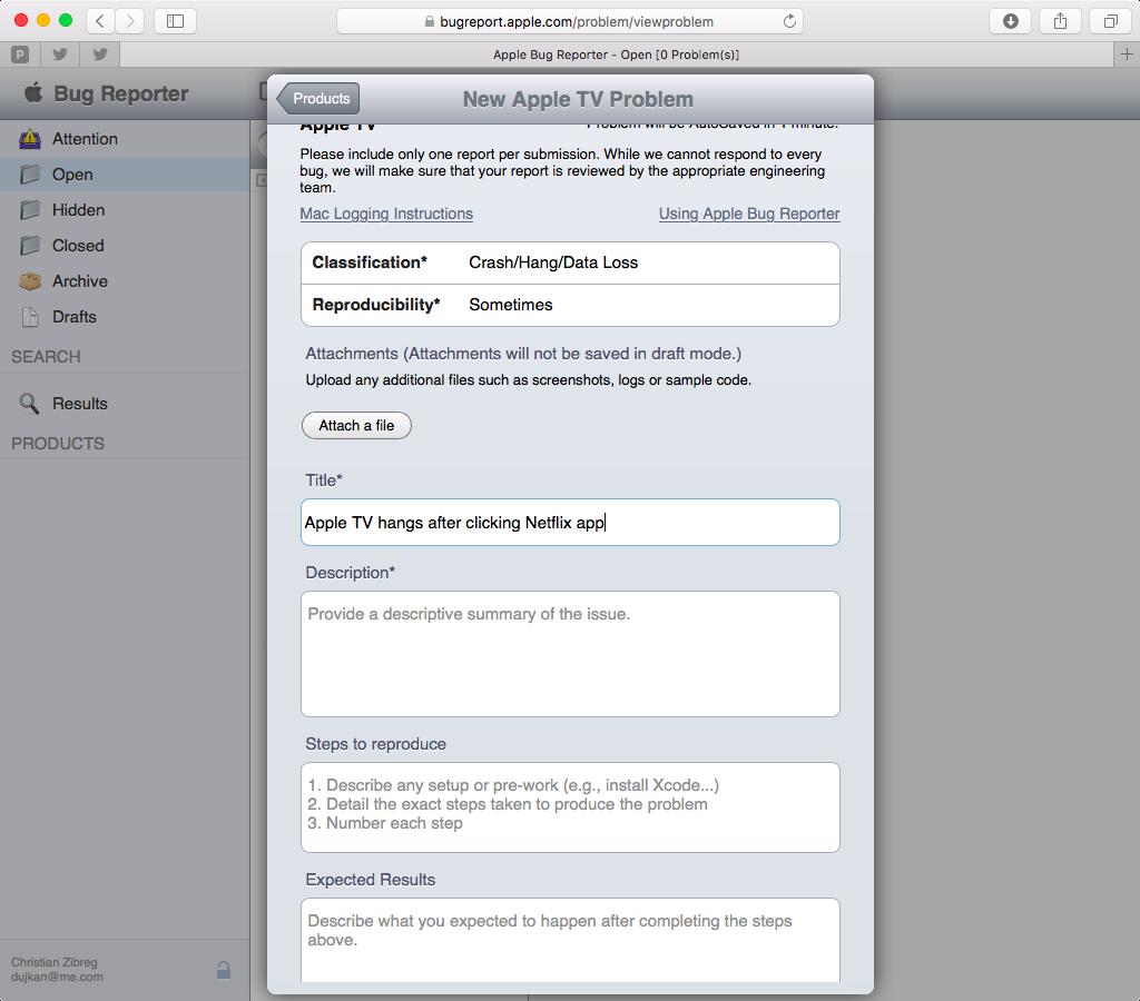 Apple Bug Reporter web screenshot 006