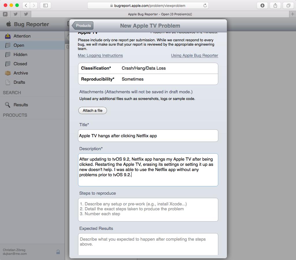Apple Bug Reporter web screenshot 007