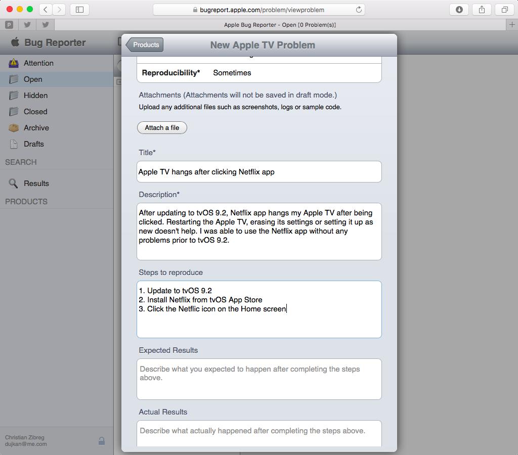 Apple Bug Reporter web screenshot 008